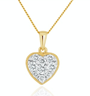 Lab Diamond Pave Heart Pendant Necklace 0.50ct H/Si in 9K Gold