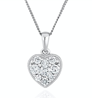 Lab Diamond Pave Heart Pendant Necklace 0.50ct H/Si in 9K White Gold