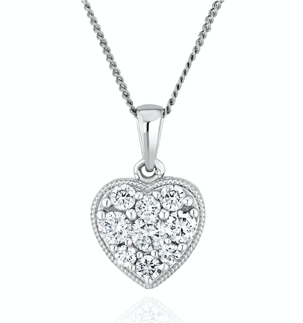 Lab Diamond Pave Heart Pendant Necklace 0.50ct H/Si in 9K White Gold - image 1