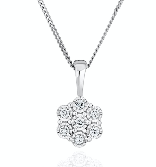 Lab Diamond Cluster Pendant Necklace 0.10ct H/Si in 9K White Gold - image 1