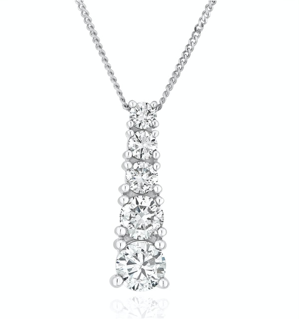 Life Journey Lab Diamond Necklace 1.00ct H/Si in 9K White Gold - image 1