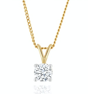 Lab Diamond Solitaire Pendant Necklace 0.33ct H/Si in 9K Gold