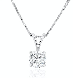 Lab Diamond Solitaire Pendant Necklace 0.33ct H/Si in 9K White Gold