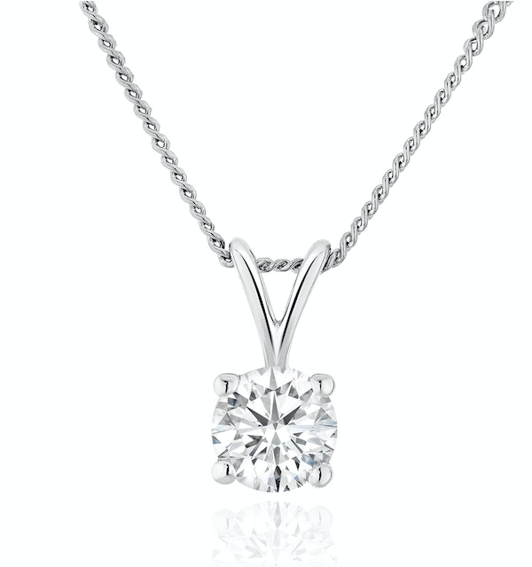 Lab Diamond Solitaire Pendant Necklace 0.33ct H/Si in 9K White Gold - image 1