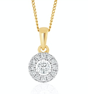 Lab Diamond Halo Pendant Necklace 0.25ct H/Si in 9K Gold