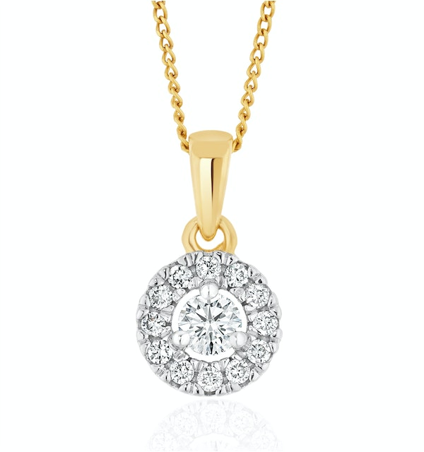 Lab Diamond Halo Pendant Necklace 0.25ct H/Si in 9K Gold - image 1
