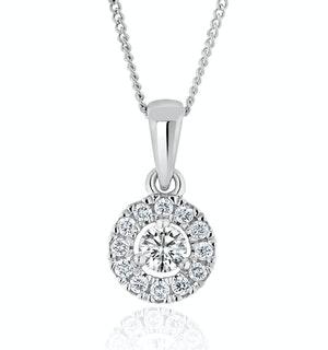 Lab Diamond Halo Pendant Necklace  0.25ct H/Si in 9K White Gold