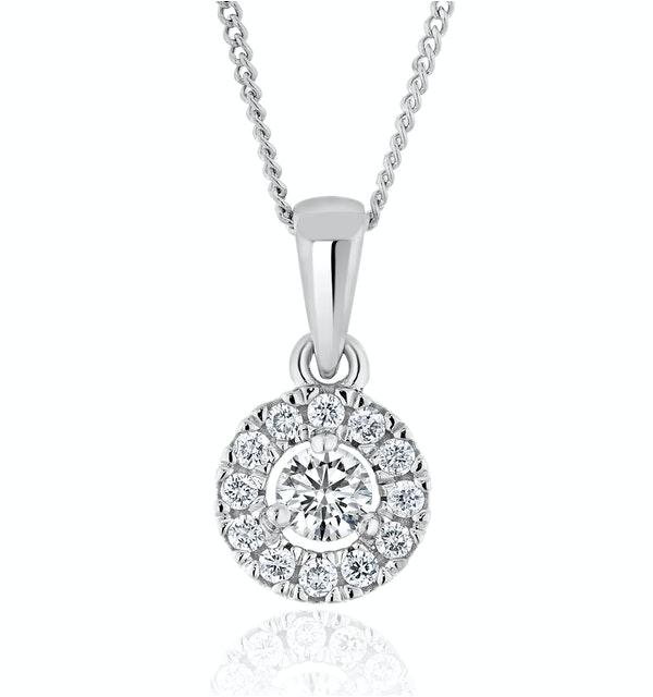 Lab Diamond Halo Pendant Necklace  0.25ct H/Si in 9K White Gold - image 1