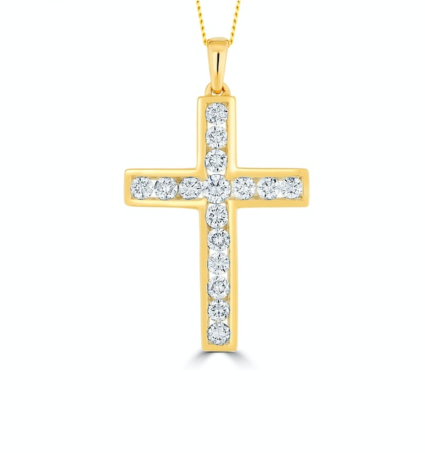 Lab Diamond Cross Pendant Necklace Channel Set 0.25ct H/Si in 9K Gold - image 1