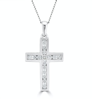 Lab Diamond Cross Necklace Channel Set 0.25ct H/Si in 9K White Gold