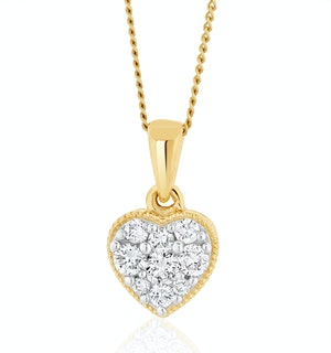 Lab Diamond Heart Pendant Necklace 0.25ct H/Si in 9K  Gold