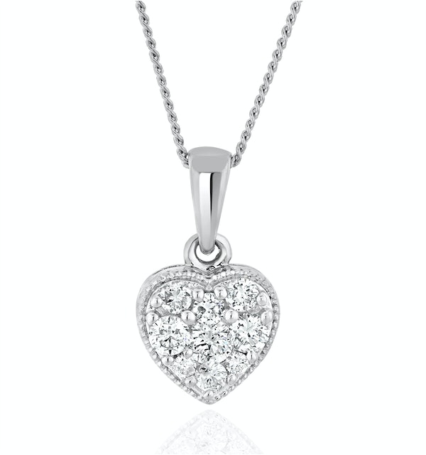 Lab Diamond Heart Pendant Necklace 0.25ct  H/Si in 9K  White Gold - image 1