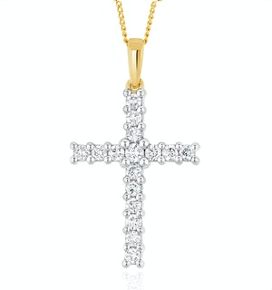 Lab Diamond Cross Pendant Necklace Claw Set 0.50ct H/Si in 9K Gold