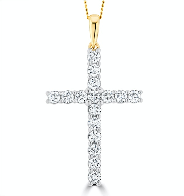 1ct Lab Diamond Cross Claw Set Necklace Pendant H/Si in 9K Gold - image 1