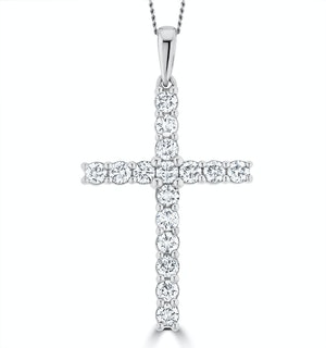 1.00ct Lab Diamond Cross Necklace Claw Set H/Si in 9K White Gold