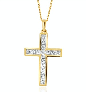 Lab Diamond Cross Channel Set Pendant Necklace 0.50ct H/Si in 9K Gold