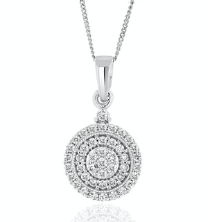 Triple Halo Lab Diamond Pendant Necklace 0.50ct H/Si in 9K White Gold