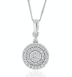 Triple Halo Lab Diamond Pendant Necklace 0.50ct H/Si in 9K White Gold