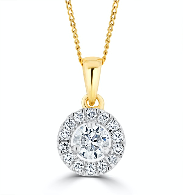 Lab Diamond Halo Necklace Pendant 0.50ct H/Si Set in 9K Gold - image 1