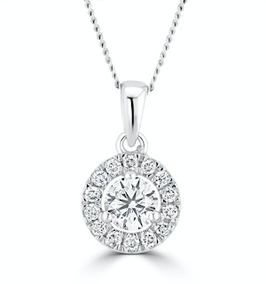 Lab Diamond Halo Necklace Pendant 0.50ct H/Si Set in 9K White Gold