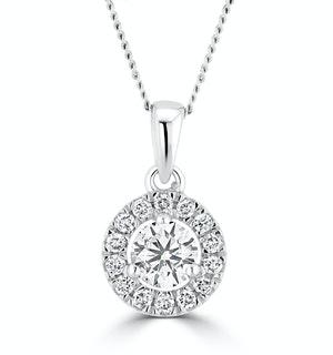 Lab Diamond Halo Necklace Pendant 0.50ct H/Si Set in 9K White Gold