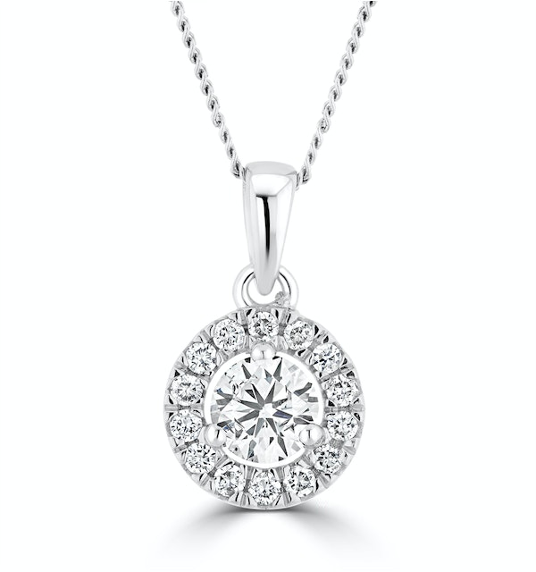 Lab Diamond Halo Necklace Pendant 0.50ct H/Si Set in 9K White Gold - image 1