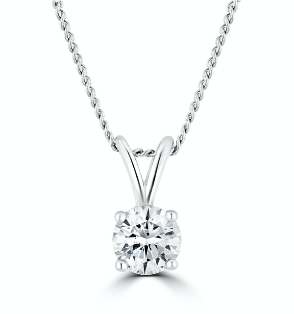 Lab Diamond Solitaire Necklace Pendant 0.25ct H/Si 9K White Gold - image 1