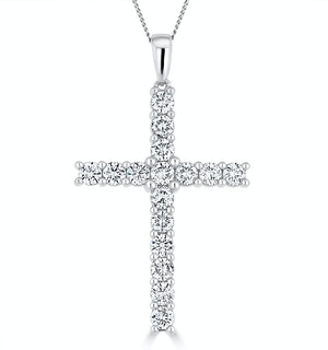 2ct Lab Diamond Cross Claw Set Necklace Pendant H/Si in 9K White Gold