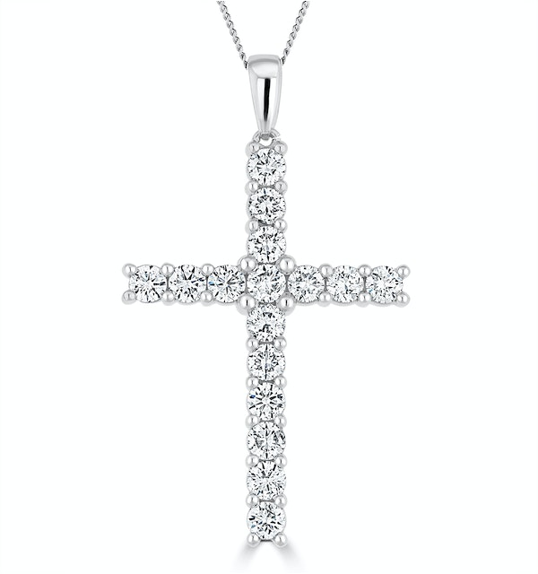 2ct Lab Diamond Cross Claw Set Necklace Pendant H/Si in 9K White Gold - image 1