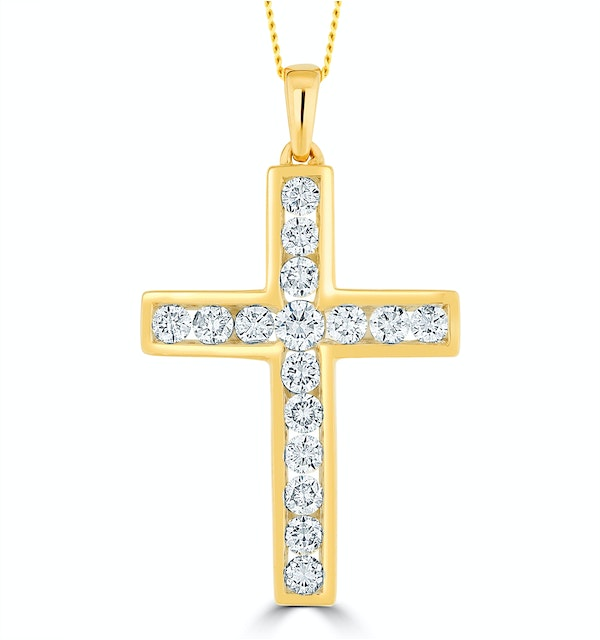 1ct Lab Diamond Cross Necklace Pendant H/Si Channel Set in 9K Gold - image 1