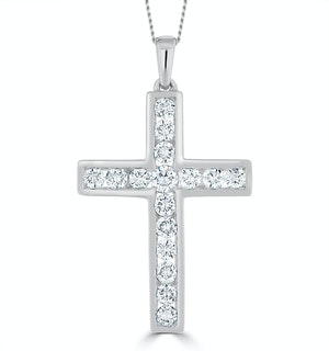 1ct Lab Diamond Cross Necklace Pendant H/Si Channel Set 9K White Gold