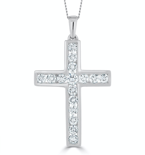 1ct Lab Diamond Cross Necklace Pendant H/Si Channel Set 9K White Gold - image 1