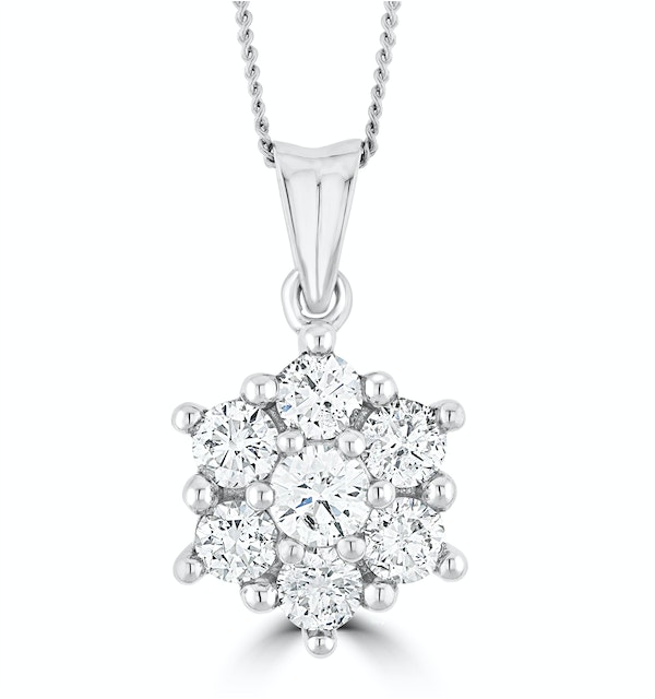 1ct Lab Diamond Cluster Necklace Pendant H/Si in 9K White Gold - image 1