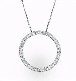 Lab Diamond Circle Necklace Pendant 1 Carat Set in 925 Silver