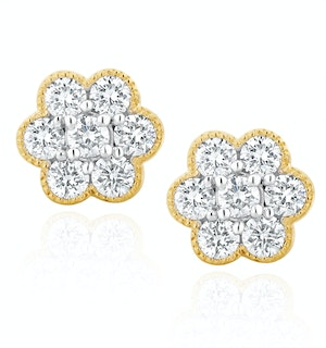Lab Diamond Flower Cluster Earrings 0.50ct  set in 9K Gold