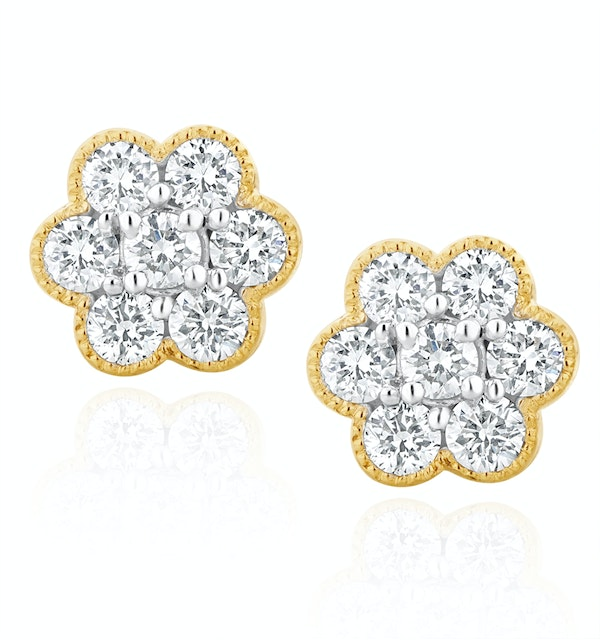 Lab Diamond Flower Cluster Earrings 0.50ct  set in 9K Gold - image 1