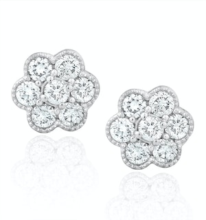 Lab Diamond Cluster Flower Earrings 0.50ct  set in 9K White Gold