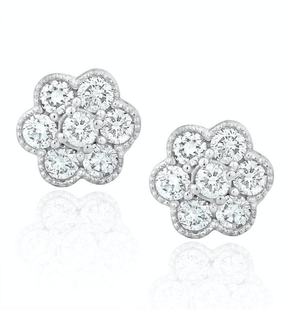 Lab Diamond Cluster Flower Earrings 0.50ct  set in 9K White Gold - image 1