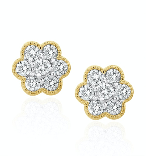 Lab Diamond Cluster Flower Earrings 0.25ct  set in 9K Gold - image 1