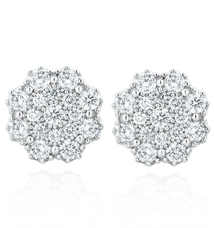 Large Lab Diamond Cluster Earrings 1.00ct H/Si in 9K White Gold