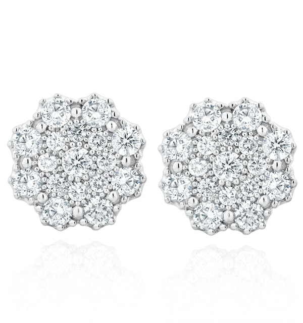 Large Lab Diamond Cluster Earrings 1.00ct H/Si in 9K White Gold - image 1