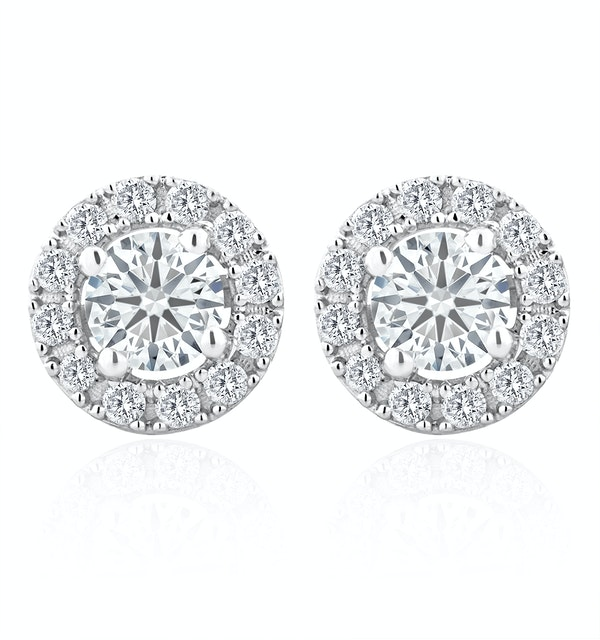 Halo Lab Diamond Earrings 1.00ct H/Si in 9K White Gold - image 1