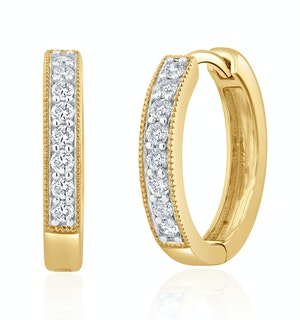 Lab Diamond Hoop Earrings 0.25ct H/Si Pave Set in 9K Gold
