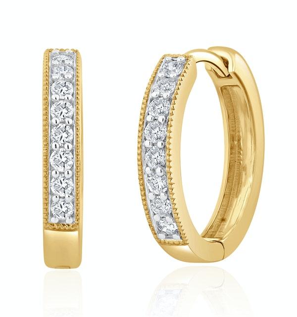 Lab Diamond Hoop Earrings 0.25ct H/Si Pave Set in 9K Gold - image 1