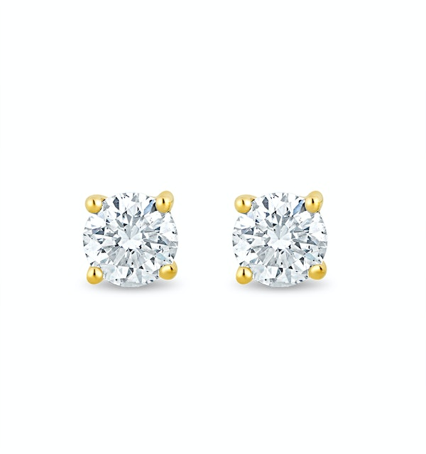 Lab Diamond Stud Earrings 0.10ct H/Si Quality in 9K Gold - 2.4mm - image 1