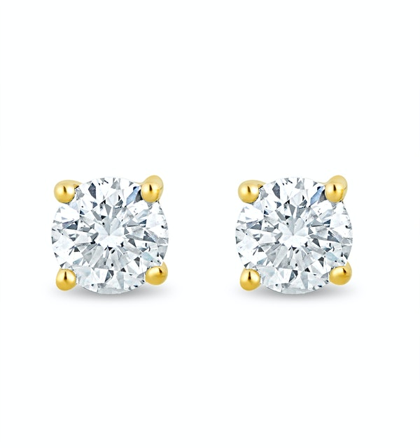 Lab Diamond Stud Earrings 0.30ct H/Si Quality in 9K Gold - 3.6mm - image 1