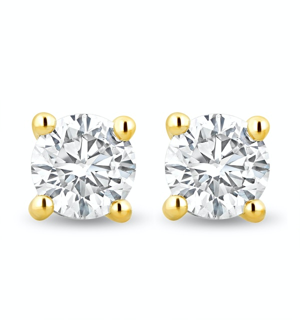 Lab Diamond Stud Earrings 1.00ct H/Si Quality in 9K Gold -  5.2mm - image 1