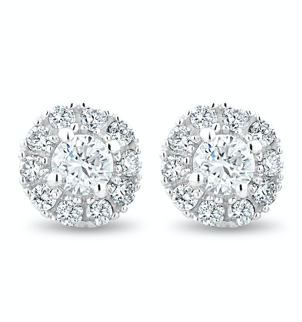 Halo Lab Diamond Earrings 0.50ct H/Si Set in 9K White Gold - image 1