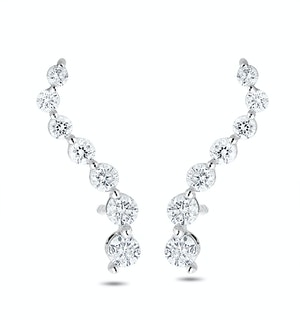 Ear Climber Life Journey 0.50ct Lab Diamond Earrings 9K White Gold