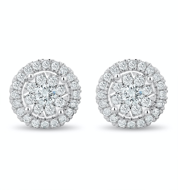 Halo Lab Diamond Multi-Wear Earrings 1.25ct H/Si in 9K White Gold - image 1